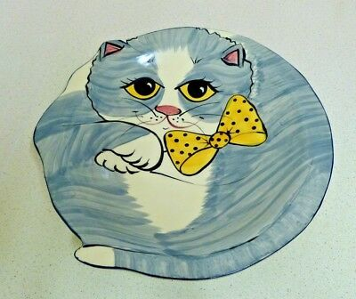 Large Vintage Ceramic Serving Plate / Fruit Bowl - Grey Cat - Barbara Johansson