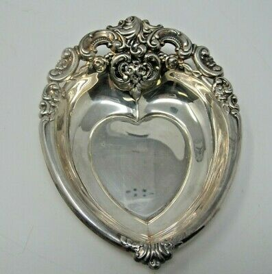 """Baroque by Wallace 727 heart shapped silver plate bowl candy dish 6"""""""