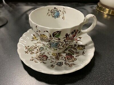 One Vintage JOHNSON BROTHERS ENGLAND STAFFORDSHIRE BOUQUET CUP & SAUCER