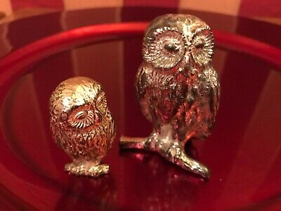 Two Cast white Metal silver plated Owl Figure s