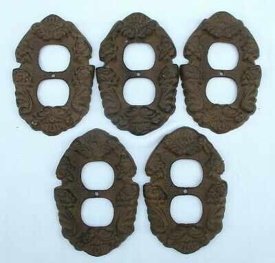 Set Of 5 Rustic French Style Cast Iron Electrical Plug Outlet Wall Cover Plates