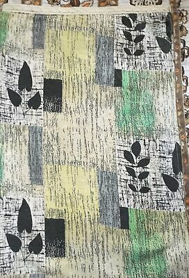"""Vintage 1950s double sided barkcloth single curtain 43"""" wide 69"""" Long Camper van"""