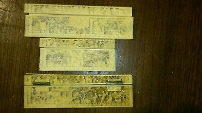 Antique Carved Chinese Canton Fine Carving Bovine Bone Box Panels Incomplete