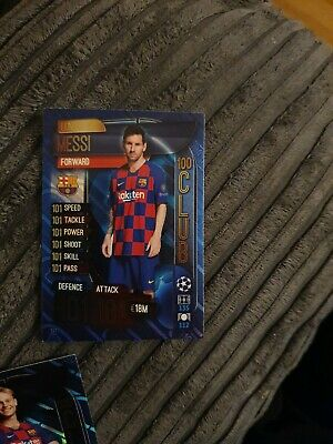 Topps Match Attax 2019/20 Barcelona Messi 100 One Hundred Club Card