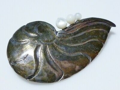 Gfmw Sterling Silver Mother Of Pearl Mop Fossil Ammonite Nautilus Brooch Pin