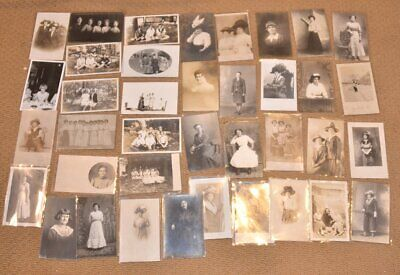 Lot of (38) Vintage 1908 Beautiful Ladies Real Photograph  RPPC Post Cards