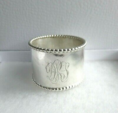 Antique Sterling Silver Wide Beaded Rim Napkin Ring Engraved Initials 23.7 Grams