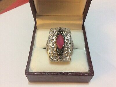925 Sterling Silver Art Deco style  Ring with Marcasite & Pink Glass or Garnet?
