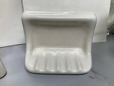 "VTG Mid Century 7"" Ivory Bathroom Accessory Porcelain Ceramic Glossy Soap Dish"