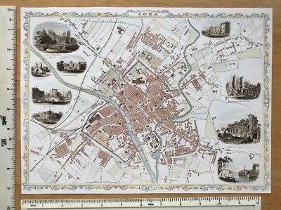 """Old Antique colour map of York, England: 1800's, 1851 12.5"""" x 9"""" Reproduction"""