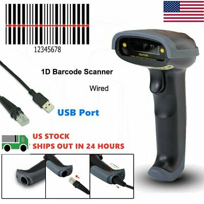 Portable Wired Handheld USB Laser Barcode Scanner 1D Code Reader Lowest Price US