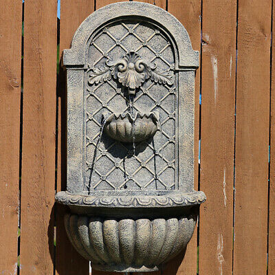 Sunnydaze Venetian Solar-Only Outdoor Wall Water Fountain - French Limestone