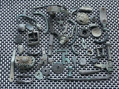 Lot Of 50 Ancient Roman And Byzantine Medieval Bronze Artifacts And Fragments