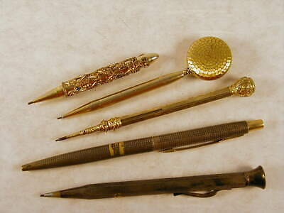 Lot of (5) Vintage Mechanical Pencils - 3 Gold Colored 2 Sterling - L@@K !