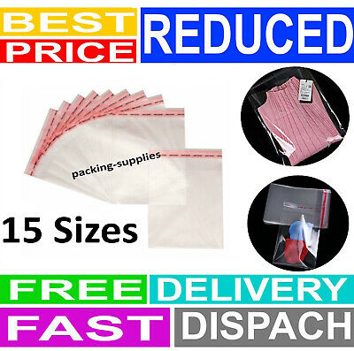 Clear Cellophane Cello Bags Card Display Self Adhesive Peel And Seal Plastic OPP