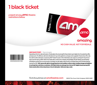 AMC Theatres - 1 Black Movie Ticket - fast edelivery