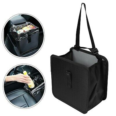 WilAuto Hanging Car Trash Bin Black Car Trash Bag Leak Proof Collapsible Car ...