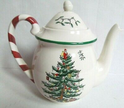 Spode Christmas Tree Teapot - red white striped Candy Cane Handle- Green trim