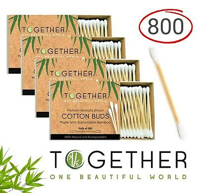 Bamboo Cotton Buds by Together | 800 in Total | Luxury Cotton Swabs Made from...