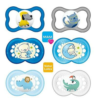 Pack of 2 for Boys Assorted Colours BPA Free MAM 703911 Night Latex Dummies 16