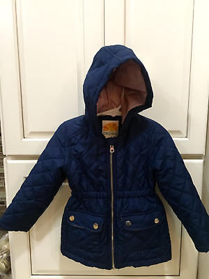 Navy Blue Quilted/Pink Lined Hooded Girls Jacket - size 3T