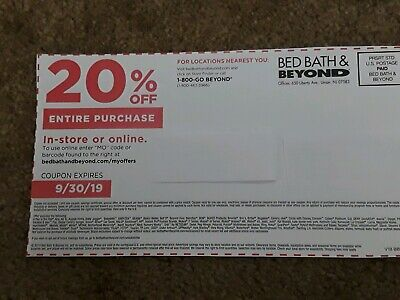Bed Bath & Beyond 20% OFF ENTIRE PURCHASE In-Store or Online – Expired