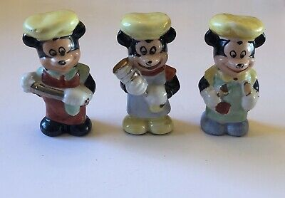 Early Walt Disney Mickey Mouse Bisque Chef Figurines Set Of 3 1930s Vintage