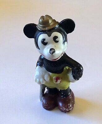 Early Walt Disney Mickey Mouse Bisque Figurine 1930s Japan Vintage