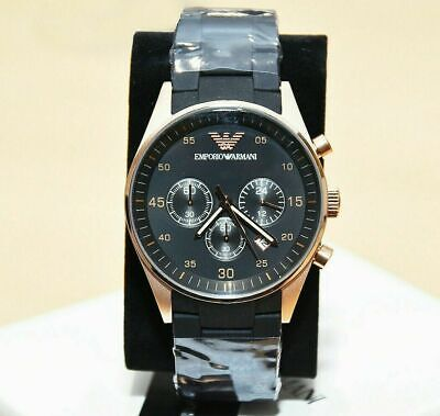 New Genuine Emporio Armani Ar5905 Rose Gold Silicone Mens Watch