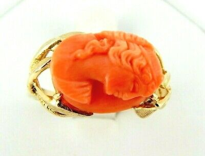 Antique 14K Italian Carved Coral Ring 7.6 Grams Size 9