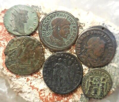 Nice lot of 6 Mostly VF+ Ancient Roman Coins! Largest 23 mm, Silver Gallienus!