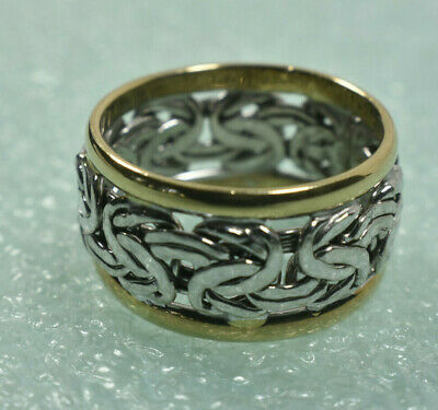 14K Yellow White Gold Wide Hammered Byzantine Band Ring  Sz 7 Exc. Cond.