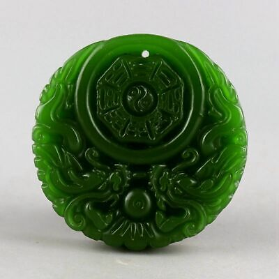 Collect Natural Green Jade Hand-Carved Double Dragon Chase Sun Decorate Pendant