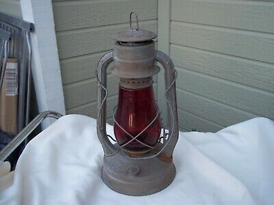 ANTIQUE DIETZ No2 BLIZZARD KEROSENE LANTERN VINTAGE LAMP ORIGINAL RED GLOBE