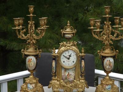 Brass Garniture Mantle Clock Candelabra Set Porcelain Pillars Franz Hermle Works