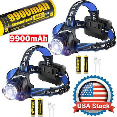 350000Lumen T6 LED Zoomable Headlamp USB Rechargeable 18650 Headlight Head Light