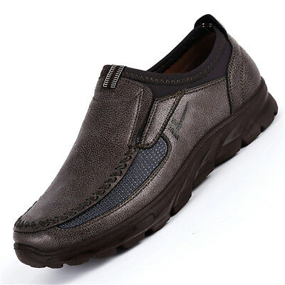 Men's Leather Casual Slip On Loafers Antiskid Summer Driving Moccasins Shoes *
