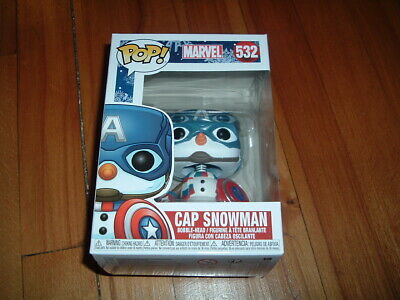 Funko Pop! Cap Snowman #532~ New~ Mint Condition~ Marvel Holiday Series