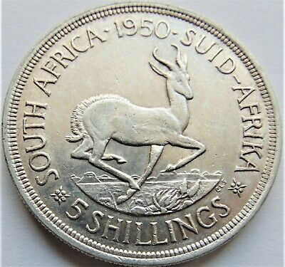 1950 SOUTH AFRICA,George VI, Silver 5 Shillings grading About EXTRA FINE.