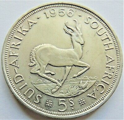 1956 SOUTH AFRICA,Elizabeth II, Silver 5 Shillings grading VERY FINE..