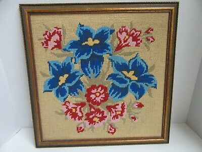 Finished Framed Needlepoint Tropical Floral Flowers Completed 16x16