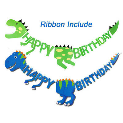 Dinosaur Happy Birthday Banner Hanging Bunting Party Decoration Garland Banners