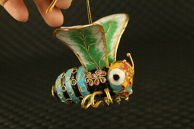Chinese old cloisonne silver hand painting bee pendant netsuke