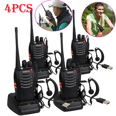 4PCS Walkie Talkie BF-888S Handheld Two-Way Radio 5W UHF 400-470MHz Rechargeable