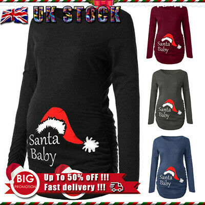 ✅UK Pregnant Women's Long Sleeve Jumper Christmas Xmas Maternity Bodycon Blouse✅