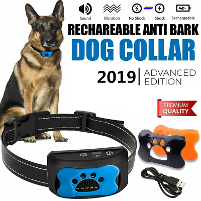 Rechargeable Anti Bark Collar Stop Dog Barking Sound Vibration S/M/L LED 3 Shell