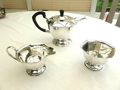 Art Deco Silver Plated Faceted Tea Pot, Cream Jug & Sugar Bowl   1440799/806