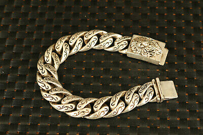 Asian tibetan silver hand carved LEO figure statue bracelet noble gift