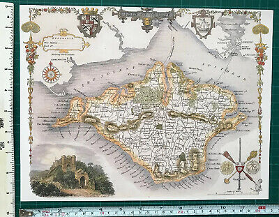 Old Antique colour map Isle of Wight, England: c1830's: Moule: Reprint