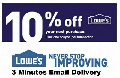 THREE (3X) Lowes 10% OFF Discount 3Coupon Discount -INSTORE ONLY - FAST SHIPMENT